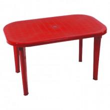 Стол овальный, красный (на 6 персон)